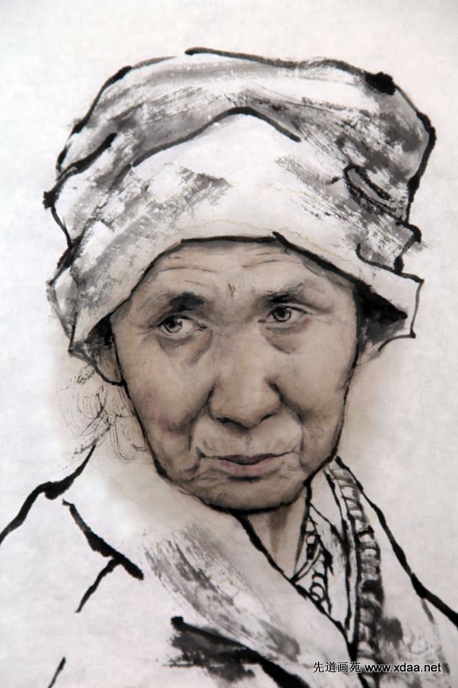 藏族老人头像 - 德艺先道书画名家网